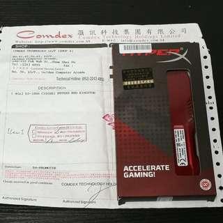 Kingston DDR3 1866 4GB x2 HyperX Fury Red Memory