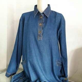 Blouse Wanita bahan jeans (code: KK076)
