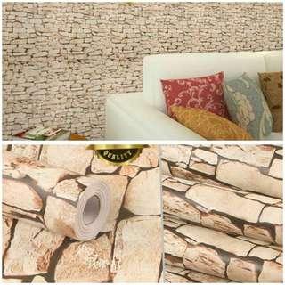 Wallpaper sticker batu alam cream