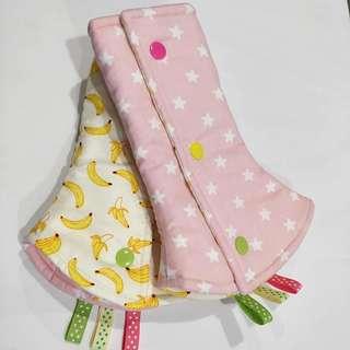 Drool Pads - Pink Stars and Bananas