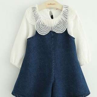Denim skirt pant set