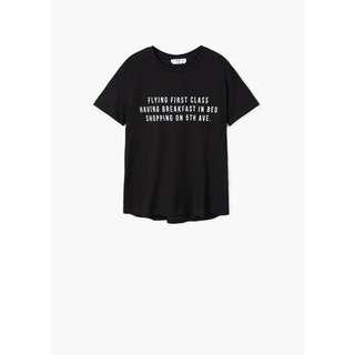 Mango -- Black Printed Message T-Shirt
