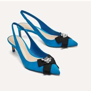 ZARA 藍色尖頭露跟皮鞋,鞋面串珠裝飾 37號原價2790元 鞋襪