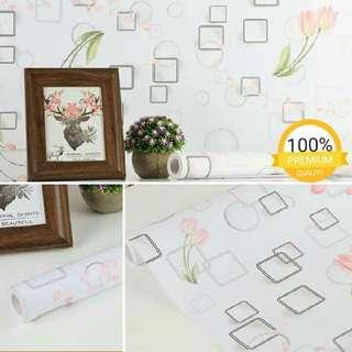 Wallpaper sticker putih kotak bunga tulip