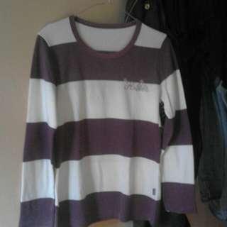 Kaos Stripe Panjang (Ungu Putih)