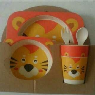 BNIB Gift Set Tiger Bamboo kids dining set
