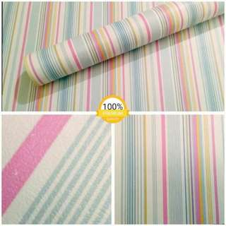 Wallpaper sticker garis hijau pink