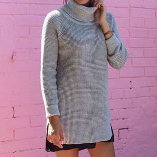 M Grey Knit Turtleneck