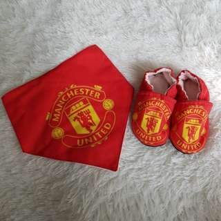Baby Booties & Bib Set - Manchester United