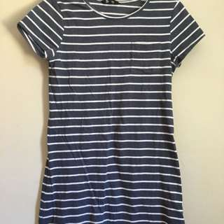 Blue striped tshirt dress