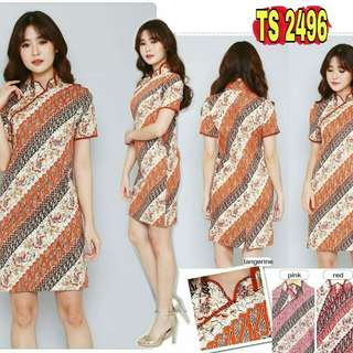 PROMO TS2496 Dress Batik Wanita Katun Stretch Bonia Cheongsam Batik Dress