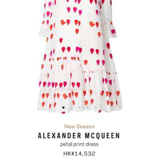Alexander McQueen Petal print silk dress 原單春夏OL花花裙子