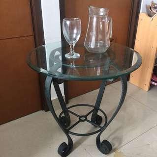 (pindahan) meja bulat kaca ukuran 50
