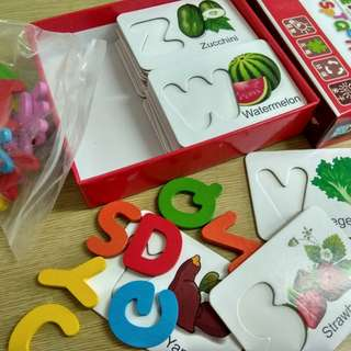 BN Wooden Toy 3D Alphabet Fruits and Vegetables Puzzle