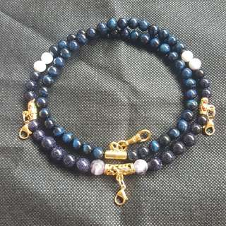 Sold - Good & Nice Sky Blue Sandstone beads, Amethyst  beads, Tiger Eye 4 hook necklace