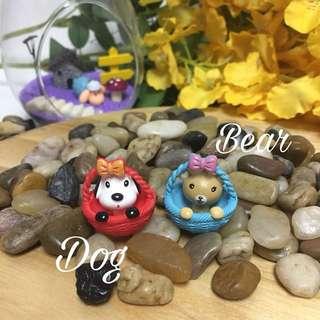 Terrarium accessories miniature animals in basket
