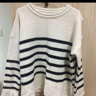 針織條紋毛衣(厚)