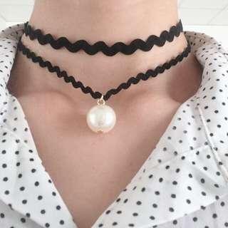 波浪造型珍珠項鍊