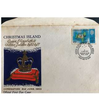 2.6.1977 First Day Cover: Christmas Island - Queen Elizabeth II Silver Jubilee