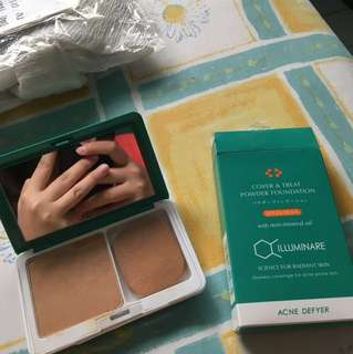 Acne defyer cover and treat powder foundation