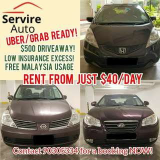 Rent Grab/Uber Cars from $40/day (Avante, Latio, Jazz, Fit)