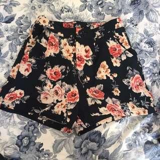 Navy floral printed shorts