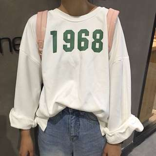 #039 1968 Pullover PO Long Sleeve Round Neck Shirt Top