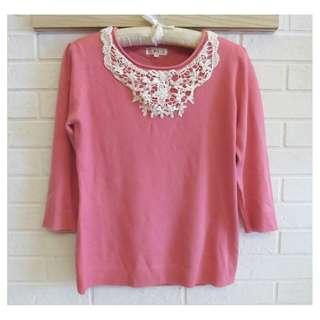 RED HOUSE 蕾赫斯珍珠優雅七分袖針織衫 38