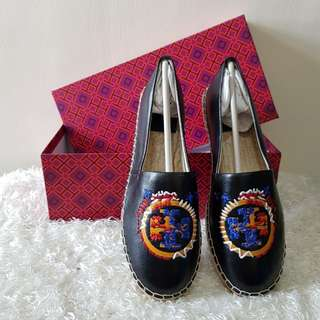 Authentic Tory Burch Daley Logo Espadrilles Shoes