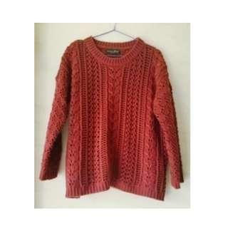 🚚 QUEENSHOP 酒红針織毛衣