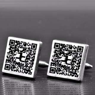 客製化925純銀CUF00010-袖口鈕(QR Code版)