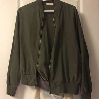 Military Green Unpadded bomber jacket