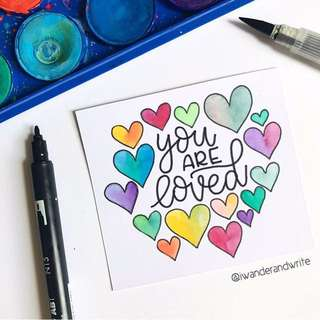 You Are Loved Hearts Calligraphy Card