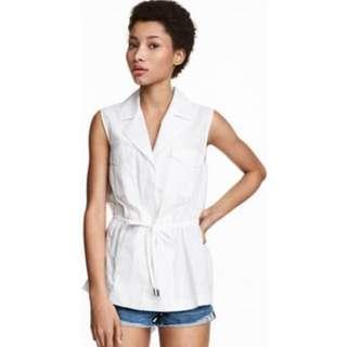 H&M White Sleeveless Shirt