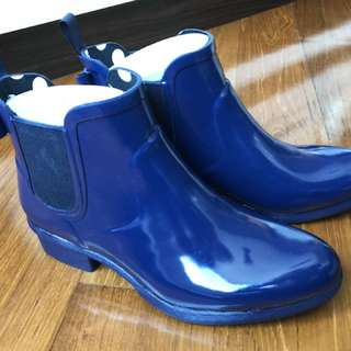 Kate spade 寶藍色短水靴水boot