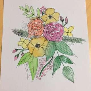 Floral bouquet - original watercolour painting