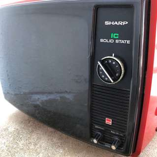 Sharp vintage black and white television TV