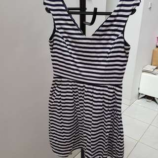 Preloved dress zara ori navy stripes