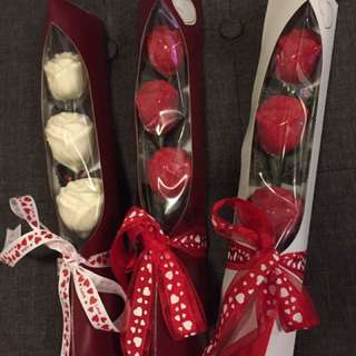 Ideal gifts for valentines day . Edible rose bouquet with box
