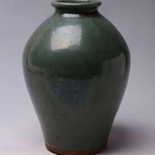 日本明治時期柴燒古陶綠釉大花瓶