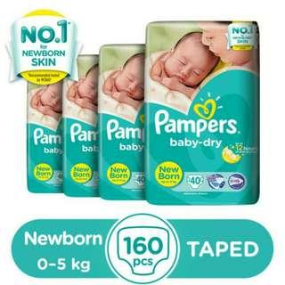 Pampers Baby Dry NB 40s - 4 packs (270 per pack)