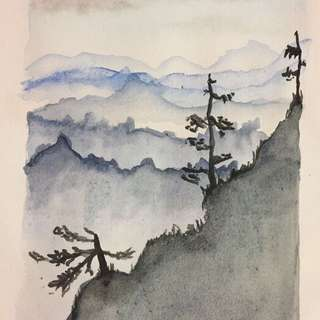 Japanese mountain scene - watercolour painting