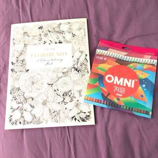 Flower coloring book & Omni coloring pencil