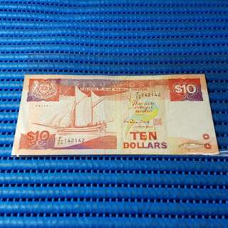 142142 Singapore Ship Series $10 Note F/24 142142 Repeater Nice Number Dollar Banknote Currency HTT