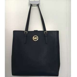 Michael Kors Jet Set Medium Travel Tote Saffiano Navy Blue Leather