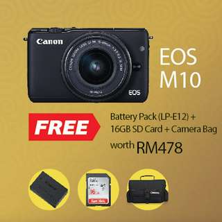 NEW CANON EOS M10 Kit 15-45mm Lens [Prosperous Giveaway]