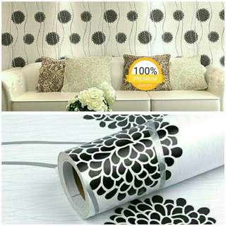 Wallpaper sticker putih bunga hitam