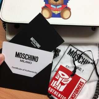 Moschino柯博文白色熊仔鏈袋全新