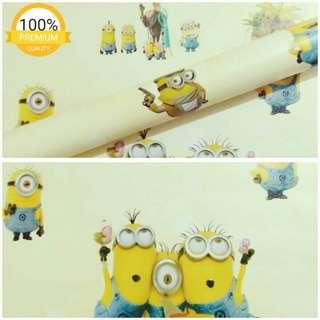 Grosir murah wallpaper sticker dinding kartun anak minion