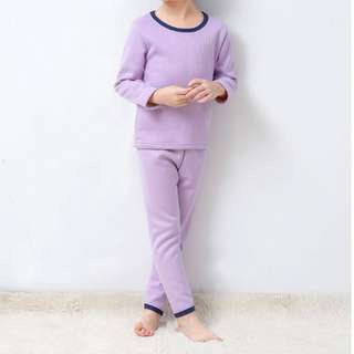 Children Girls Autumn Winter Thickened Wool Thermal Sleep Wear Set Pajamas - USED